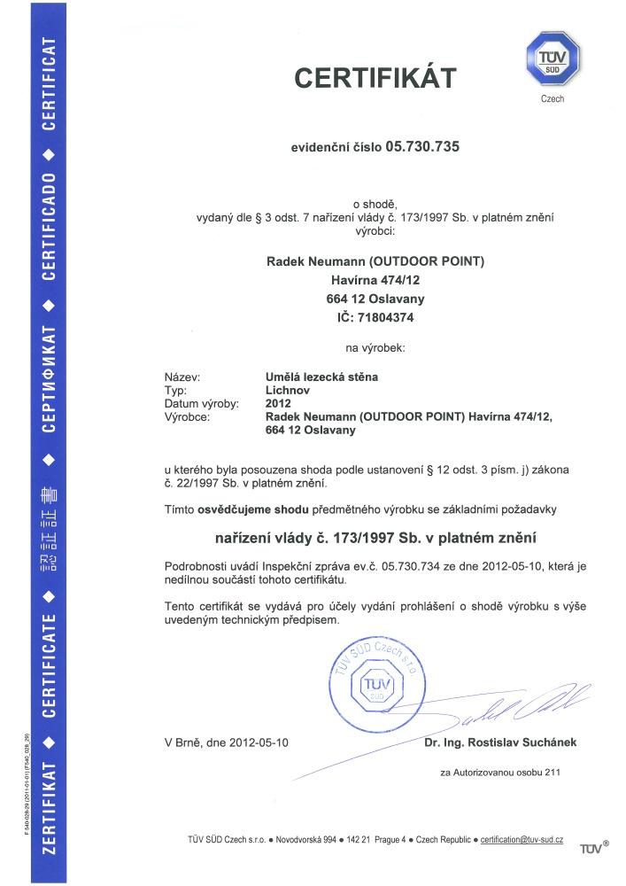 Certifikace - stěna Lichnov